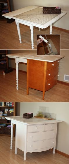 A vintage drop-leaf table was too short to serve as a fabric cutting station.  Pair it with an old dresser, lengthen the legs, add a few coats of paint, and we have a great cutting table with storage. Details on my blog