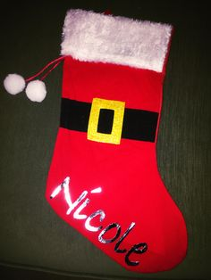 Personalized family Christmas stockings made with the Cricut Explore