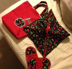 Cherry casserole carrier, cherry mitt minis, and cherry bag