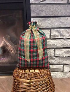 plaid quilted christmas fabric gift bag for special presents 115 x 17 large cloth reusable gift bag that can be reversed easy gift wrap