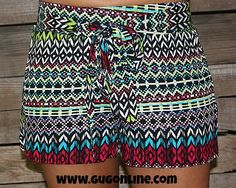 Palm Beach Princess Shorts in Red, Turquoise and Black $22.95 www.gugonline.com