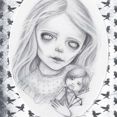 zombie.  Even though her fellow zombies  teased her relentlessly for having such an evil toy, Lilly refused to give up her favourite zombie hunter doll  and carried him with her wherever she went.  #mabsdrawlloweenclub2017 #zombie  #halloween #drawlloween #pencildrawing #drawing #samcrowart #thewalkingdead #darryldixon @bigbaldhead #lowbrowart #myalgicencephalomyelitisartist