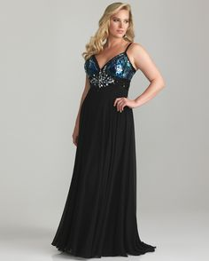 Night Moves By Allure 2013 Plus Size Prom Dresses - Blue & Black Sequin & Chiffon Empire Waist Plus Size Prom Dress - 14W - 32W