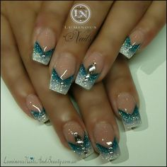 Teal and white glitter