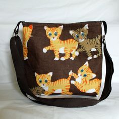 Purse  small messenger bag with kittens by Enchantingcrafts