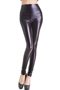 7cca46cd151cdb Lotsyle Women's High Waist Faux Leather Leggings at Amazon Women's Clothing  store: Faux Leather Leggings