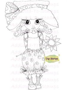INSTANT DOWNLOAD Digi Stamps Garden Nellie Lil Ragamuffin Dollies By Sherri… Embroidery Patterns, Hand Embroidery, Quilt Patterns, Coloring Pages For Girls, Coloring Book Pages, How To Make A Ribbon Bow, Big Eyes, Large Eyes, Copics
