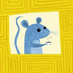 mouse mit cafe art illustration