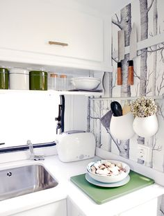 Cute little pots for storage! #kitchen #camper #small #storage #wall