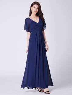 5396b82e6095 Long Modest V Neck Evening Dress