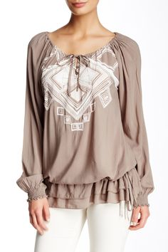 Monoreno Long Sleeve Printed Embroidered Tunic