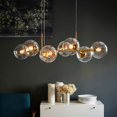 Stylish Lights For Chandeliers Staggered Glass Chandelier 8 Light West Elm Kitchen Island Lighting, Kitchen Lighting Fixtures, Dining Room Lighting, Bedroom Lighting, Home Lighting, Modern Lighting, Lighting Design, Light Fixtures, Lighting Stores