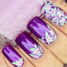 Magenta Floral Nails ❤