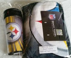 Pittsburgh Steelers 30 x 60 Beach towel & hot/cold travel tumbler $25