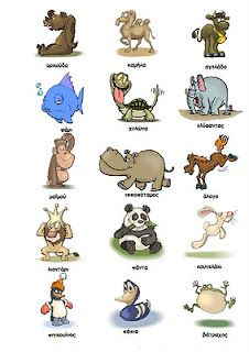 Greek for Kids: Poster - animals