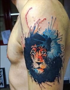 _ watercolor lion tattoo _