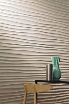 dimensional wall coverings will make even a simple interior stand out 3d Wall Tiles, Ceramic Wall Tiles, Sound Room, Dental Office Decor, Wall Decor Design, Simple Interior, Wall Finishes, Textured Wallpaper, Wall Treatments