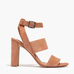 """A stunner of a sandal in soft, rich suede. The high crescent heel and wide triple strap have a clean, graphic line that looks great over tights. Please note: When you select your size, """"H"""" equals a half size. <ul><li>Suede upper.</li><li>Leather lining.</li><li>4"""" heel.</li><li>Man-made sole.</li><li>Import.</li></ul>"""