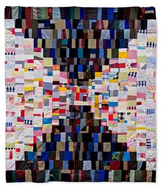 """""""Hourglass"""" """"Hourglass""""  (aka Courthouse Steps) 64"""" x  78"""" Made from shirt scraps and vintage fabrics. LeeAnn of Nifty Quilts"""