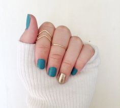 3 Dainty Gold Knuckle Rings: 1 Mid Rings & 2 Chevron by xoxogold