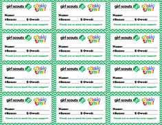 Girl Scout Cookie Delivery Thank you receipts. Hole punch and tie to the cookie order with ribbon. Free printable