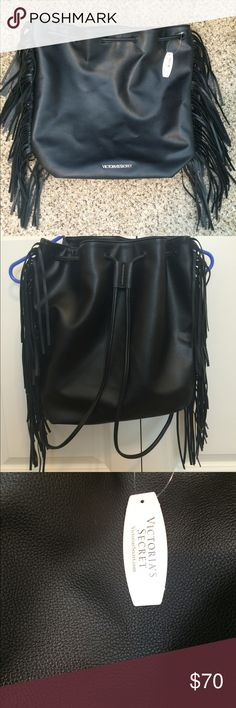 Victoria's Secret Backpack New with tags! Victoria's Secret fringe black backpack. Victoria's Secret Bags Backpacks