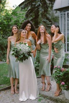 Bridesmaid Dresses Under 100, Tea Length Bridesmaid Dresses, Wedding Bridesmaids, Bridesmaid Dresses Sage Green, Bohemian Bridesmaid Dresses, Alternative Bridesmaid Dresses, Sage Dresses, Sage Green Dress, Green Silk