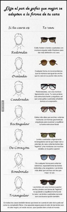 Infografía donde vemos los tipos de gafas o lentes de sol que mejor se adaptan a nuestra forma de cara o rostro