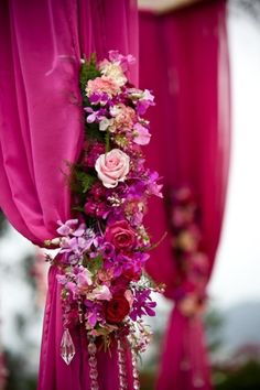 A pink wedding mandap can be decorated with curtails and flowers for a heavily flora inspired event. Indian Wedding Decorations, Ceremony Decorations, Indian Weddings, Wedding Colors, Wedding Flowers, Magenta Wedding, Wedding Pastel, Rose Fushia, Pink Purple