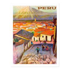 Peru vintage travel poster postcard - personalize design idea new special custom diy or cyo