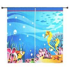 Underwater Seahorses, Fish and Coral short Curtain on CafePress.com #CurtainsIdeas2017 #WhiteCurtains Short Curtains, White Curtains, Hanging Curtain Rods, Custom Made Curtains, Coral Shorts, Seahorses, Underwater, Fish, Artwork