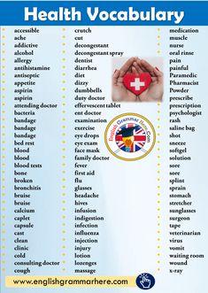aspirin face mask Health Vocabulary List - English Grammar Here Teaching English Grammar, English Writing Skills, English Vocabulary Words, English Language Learning, English Phrases, Learn English Words, English Lessons, English English, Feeling Words List