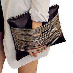 Black Leather Chain Women Handbag