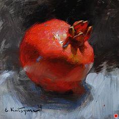 Red Crown by Elena Katsyura, Oil, 6 x 6 L'art Du Fruit, Fruit Art, Watercolor Fruit, Fruit Painting, Still Life Oil Painting, Oil Painting For Sale, Painting Classes, Pomegranate Art, Still Life Art