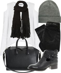 Eleanor inspired outfit for hanging out with friends Untitled #4099 by florencia95 featuring topshop Topshop cutout shoulder top / Denham black skinny leg jeans, $260 / ASOS short boots / Givenchy duffel bag / Topshop / ASOS beanie hat