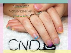 CND Shellac alternative French Manicure using pastel shades and Iridescent Glitter fade. By Claire's Creative Nails, Northampton. Call or text: 07752 397245 to book your appointment. #shellac #northampton #glitter #NailSalon #cnd #NailTechnician #alternativeFrenchManicure