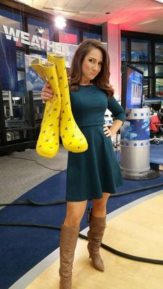 Post with 6825 views. Stiletto Boots, High Heel Boots, Knee Boots, Heeled Boots, Weather Girl Lucy, Hottest Weather Girls, Female News Anchors, Rainy Day Fashion, Slouchy Boots