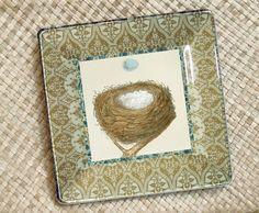Robins egg blue / Bird / Nest / Botanical by GlassPaperScizzors, $89.00