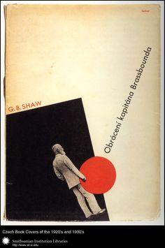 Cover design and typography by Ladislav Sutnar; drawing on title page by Zdenĕk Kratochvíl for Obráceni kapitána Brassbounda (Obráceni kapitána Brassbounda) by George Bernard Shaw. Praha, Břetislav M. Klika, 1932.