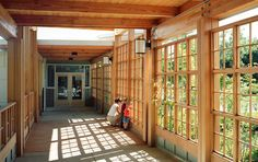 Moss Street Children's Center       Five buildings circle a courtyard, moveable walls offer flexibility, sustainable materials and systems create a responsible and comfortable environment for the young children.