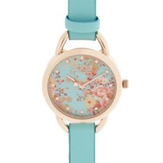 Floozie by Frost French Ladies turquoise floral dial watch- at Debenhams.com