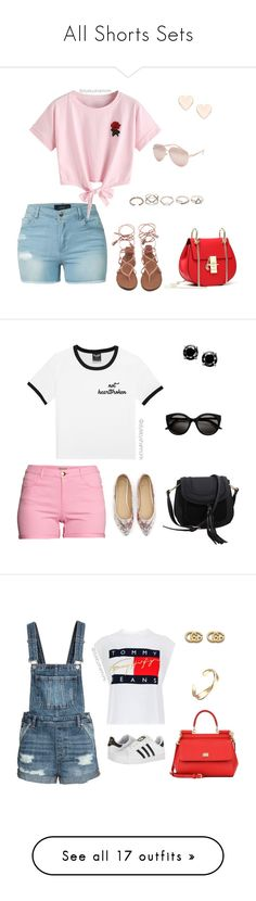 """All Shorts Sets"" by stylebyshannonk ❤ liked on Polyvore featuring LE3NO, WithChic, Ted Baker, Full Tilt, GUESS, Royal Worcester, H&M, MKF Collection, Tommy Hilfiger and adidas"