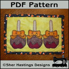 Caramel Apples Mug Rug - Halloween Mini Quilt | Quilting Pattern | YouCanMakeThis.com