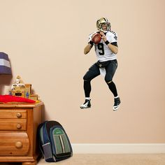Drew Brees - Fathead Jr u2013 Peel u0026 Stick Wall Graphic | New Orleans Saints Wall Decal | Sports Home Décor | Football Bedroom/Man Cave/Nursery & Saints Super Bowl XLIV Mural Fathead Wall Graphic | New Orleans ...