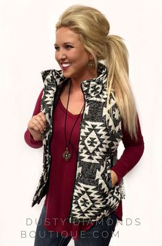 Aztec Pattern Vest - Dusty Diamonds Boutique - just for the record I don't approve of her hair. Country Girl Outfits, Western Outfits, Western Wear, Western Chic, Country Wear, Cowgirl Outfits, Country Style, Looks Style, Style Me