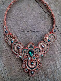 Elegant Soutache Oriental Necklace Soutache by MagicalSoutache