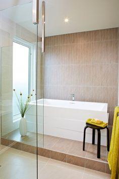 Bathroom inspiration, freestanding bath, feature tiles, ensuite idea, neutral colour scheme