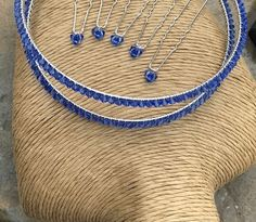 Swarovski Crystal Sapphire Blue Tiara Band - Crystal Tiara - Wedding Accessories £49.99 Blue Bridal, Blue Wedding, Bridal Accessories, Bridal Jewelry, Swarovski Pearls, Wedding Favours, Clear Crystal, Blue Sapphire, Hair Pins