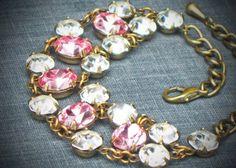 Vintage Rhinestone Bracelet, Bridal, Wedding, Pink, Rose, jewelry by rewelliott