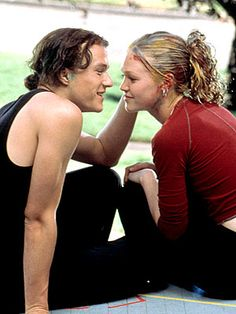 "Patrick Verona (Heath Ledger) and Katarina ""Kat"" Stratford (Julia Stiles) in the movie, ""10 Things I Hate About You"" a modernized version of ""The Taming of the Shrew"" by William Shakespeare"